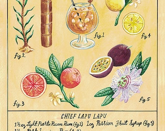 Botanical Chief Lapu Lapu (Classic Tiki Cocktail) Print