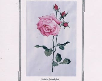 Audrey/Pink Full Bloomed Rose with Buds/Cross Stitch Chart/Full Size by The Silver Lining