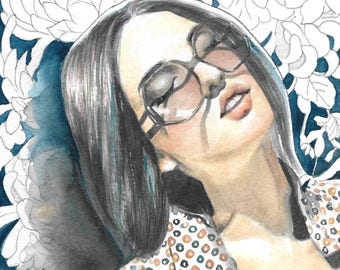 Flower pattern. Sunglasses. Day Dream. a Watercolor artwork by Helga McLeod HM123