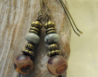 brown agate and grey green stone stacked dangles
