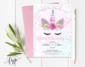Unicorn Birthday Invitation - Magical Unicorn Invitation - Girls Birthday Invite - Unicorn Invitation - Magical Birthday - Unicorn Face