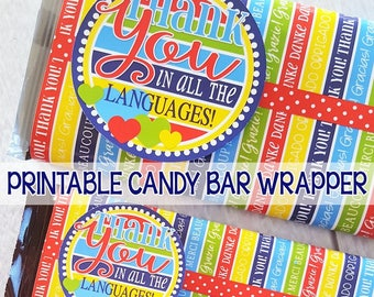 THANK YOU Chocolate Bar Wrapper, Thank You Gift, Thank You in ALL the Languages, Thank You Favor, Say Thanks - Printable Instant Download