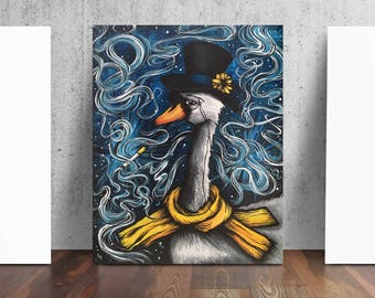 Swan Smoking Top Hat Print from Original Painting by Cat Paschal Dolch