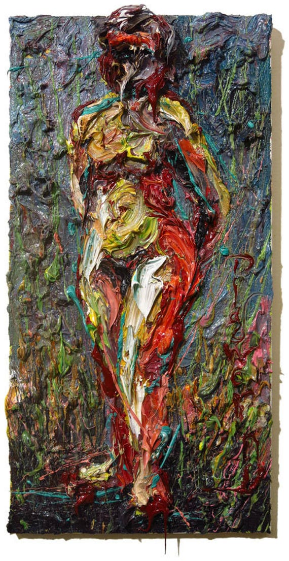 SOLD - Oil Paint on Stretched Canvas of 20 by 10 by 3/4 in. / Original oil painting vintage art abstract landscape female nude woman impasto