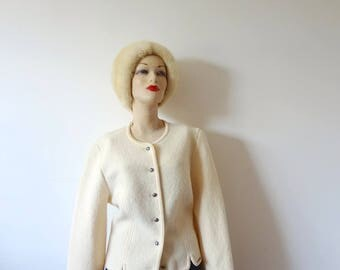 Vintage GEIGER Wool Cardigan - cream color sweater from Austria