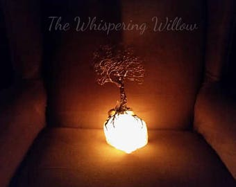 Copper Wire Tree Of Life Metal Art Sculpture On A White Rose Quartz Tealight Candle Holder