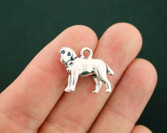 2 Dog Charms Antique Silver Tone Adorable 3D Detail - SC7126 NEW6