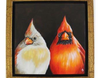 Cardinals painting - love bird painting - wedding gift - anniversary gift - lovebirds couple art - feathered friends - traditional art birds