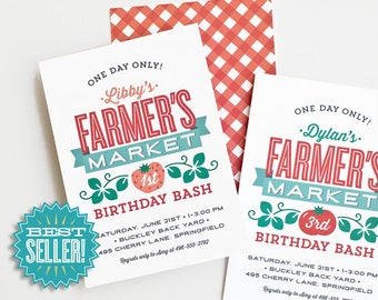 Farmers Market Birthday Invitation, Printed Invite for Kid's Farm Party // FARMERS MARKET
