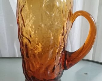 Amber Colored Glass Pitcher, 24 ounces, Unique Design, Vintage Glassware, Serving Pitcher, Beverages, Heavy Duty Glass Pitcher, Textured