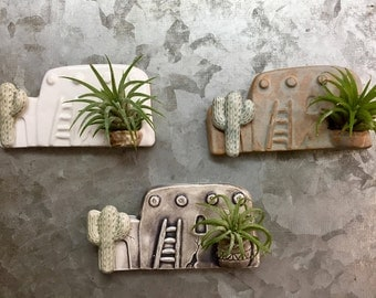 Ceramic Southwest Adobe House Magnet with Air Plant