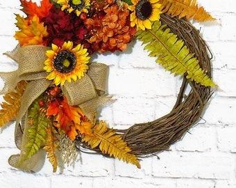 Autumn Wreath, Fall Wreath, Fall Decor, Autumn Decor, Sunflower Decor, Thanksgiving Wreath