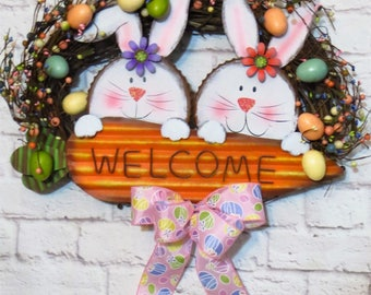 Easter Wreath, Easter Bunny Wreath, Easter Egg Wreath, Easter Decor,  Easter Grapevine, Spring Wreath