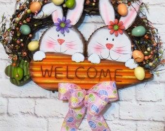 Easter Bunny Wreath, Easter Egg Wreath, Easter Decor, Easter Wreath, Easter Grapevine, Spring Wreath
