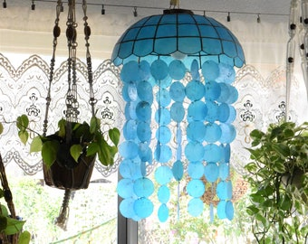 mid century blue capiz seashell hanging lamp chandelier / mobile windchime