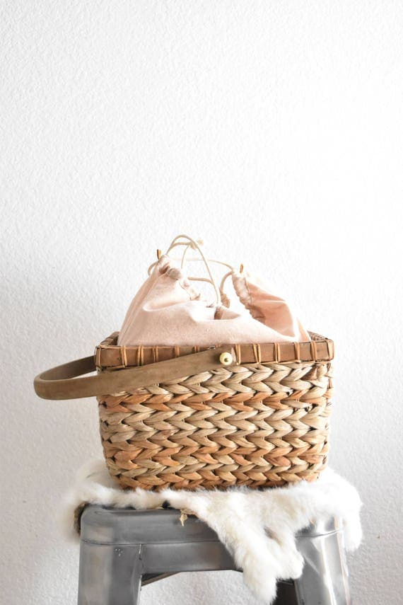 vintage drawstring woven wicker straw sewing wood basket with handle / lid
