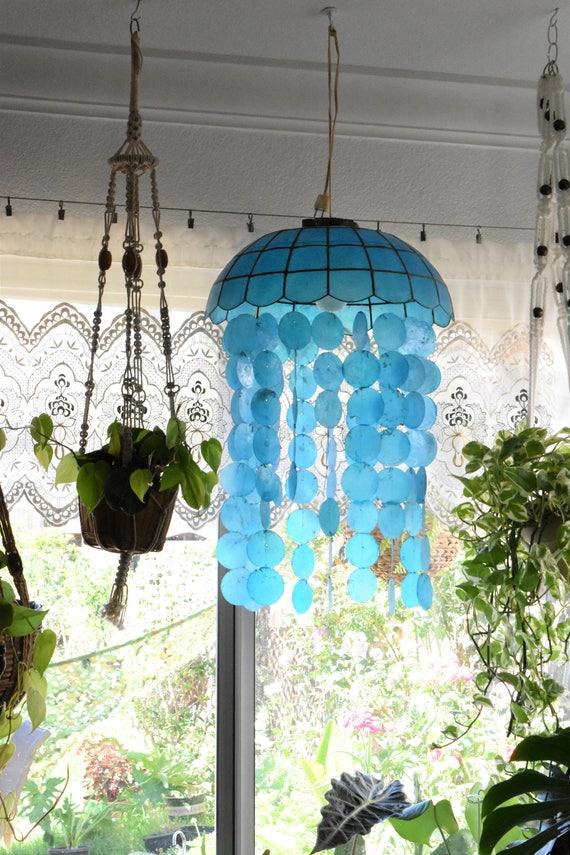 mid century blue capiz seashell hanging lamp chandelier / mobile windchime