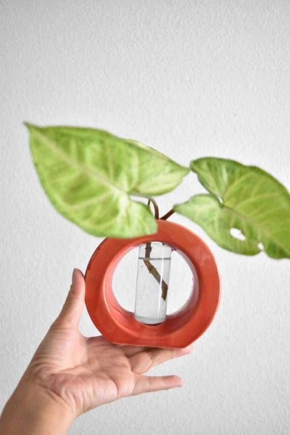 vintage ceramic red orb bud vase starter flower planter