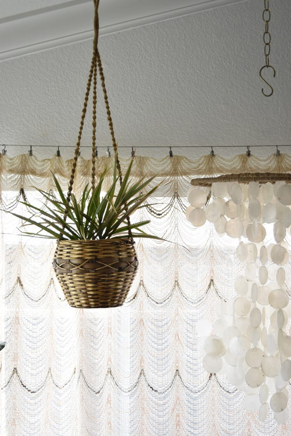 woven wicker rattan hanging basket planter / plant holder