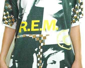 Vintage REM Shirt Radio Song KRS ONE Concert shirt Band Tee Hip Hop Rap Street Style Screen Printed Limited Edition All over Print 1990s xl