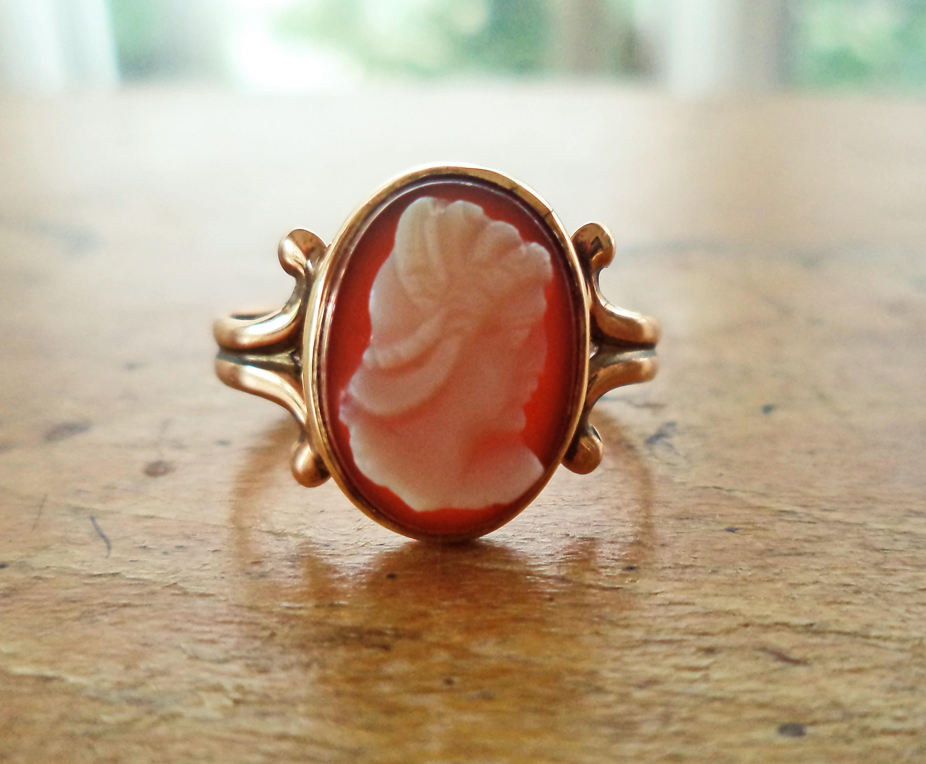 Antique 10K Rose Gold Cameo Ring Edwardian Jewelry