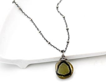 Green Watermelon Tourmaline Necklace, Petite Green & Black Tourmaline Slice Pendant, Oxidized Silver Gemstone Layering Necklace