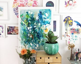 Large Blue Abstract Art. Turquoise Artwork. Art Print. Summer Blues. Contemporary Wall Art. Modern Abstract Artwork. Large Artwork for Walls