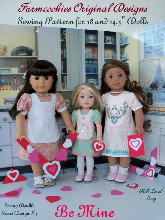 "2 Sizes! XL PDF Sewing Pattern: BE MiNE /Fits Both 18"" American Girl ® & 14"" Wellie Wishers®/ Fits like American Girl Doll Clothes Pattern"