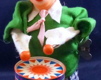 Vintage Musical Clockwork Clown Playing Drum Wind Up Toy, 1960s