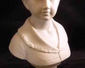Vintage Matte White Ceramic Boy Bust Figurine, 1960s