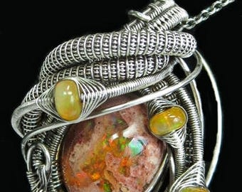 Wire-Wrapped Mexican Cantera Opal Pendant in Antiqued Sterling Silver with Ethiopian Welo Opals