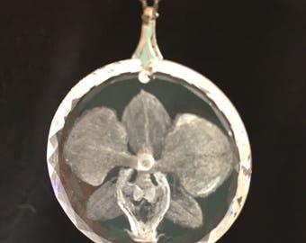 ORCHID Sterling & Crystal Pendant- vintage Etched Sparkling Crystal