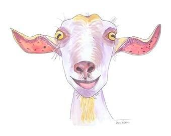 Goat face art print, farm animal mugshot picture, illustration, watercolor painting sketchbook art barnyard, psychedelic smiling purple goat