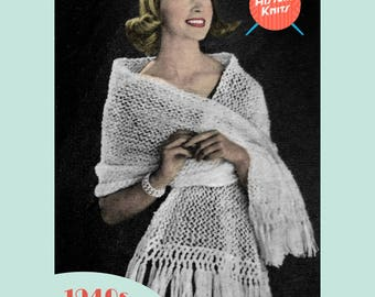 Evening Stole - PDF download vintage knitting pattern from the 1940s / 1950s