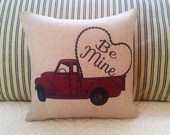 Red truck pillow, Valentine truck , Farmhouse decor, Bee mine heart, Valentine pillow