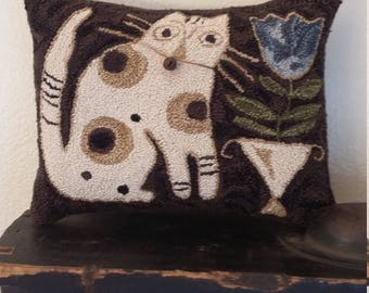 primitive punchneedle Blue Belle small pillow shelf sitter cupboard tuck pinkeep