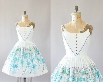 Vintage 50s Dress/ 1950s Cotton Dress/ White Cotton Piqué Floral Border Print Dress w/ Spaghetti Straps S
