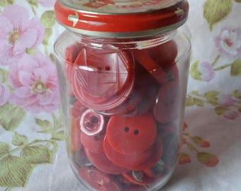 Vintage Red Buttons in Gerber Jar