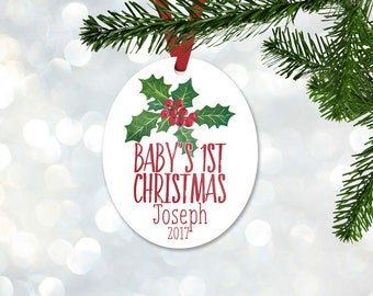 Personalized First Christmas Ornament, Baby Boy Keepsake Ornament, Baby's 1st Christmas, Mistletoe Berry and Leaves, Christmas Gift (012)