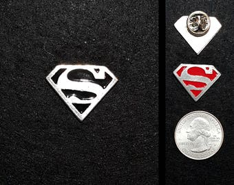 Pewter Pick your color Superman 1 inch Lapel Pin or Magnet