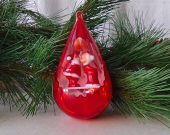 Vintage Santa Christmas Ornament Plastic Teardrop Reflective Santa and Mrs Claus Cutout Holiday Decor 1960s