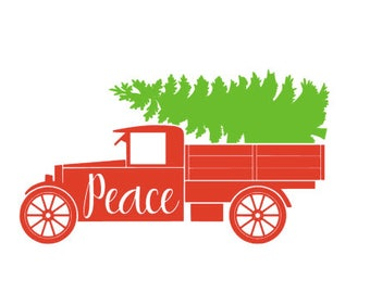 Peace Old Truck Christmas Tree SVG or Silhouette Instant Download