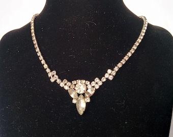Continental Rhinestone Necklace, Vintage Continental Necklace, Rhinestone Necklace, Wedding Necklace, Wedding Jewelry