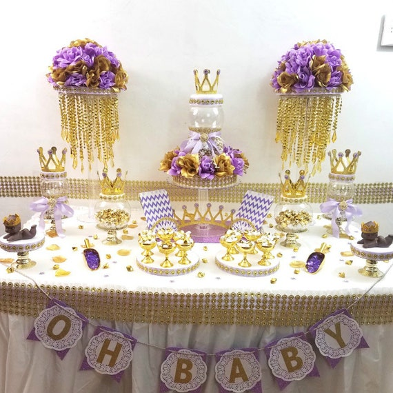 Lavender and gold baby shower candy buffet centerpiece