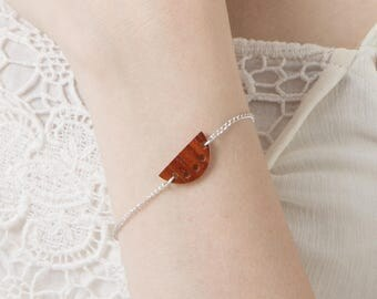 Dainty minimalist bracelet, Delicate chain bracelet, Half moon bracelet, Wood bracelet, Boho bracelet, Gift for her, Handmade jewelry
