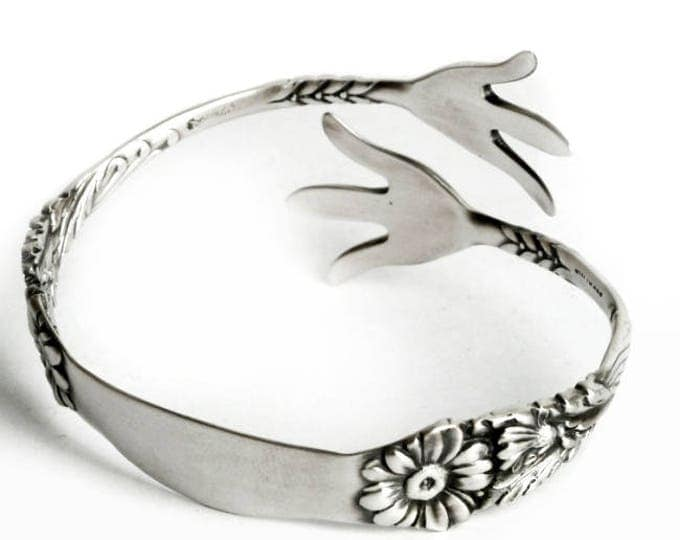 "Daisy Claw Spoon Bracelet, Sterling Silver Gorham pattern of 1901 ""Marguerite"" Bangle with Engraved B, Adjustable Size (6979)"