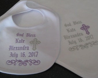 Baptism, Christening Blanket and Bib, Personalized Machine Embroidery Design for Baby Girl or Baby Boy, Godparent Gift, Heirloom, Keepsake