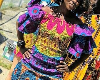 Tribal Print Cold Shoulder Dress Mixed Print Ankara Fabric Party Dress Wedding