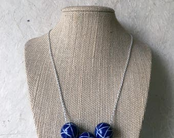 Deep blue ceramic ball necklace