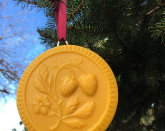 Beeswax Ornament - Strawberries with Flower - 4.25 in wide